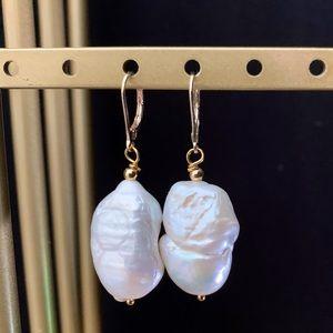 Jewelry - Genuine Keshi Pearl Earrings 20mm 14k GoldFindings